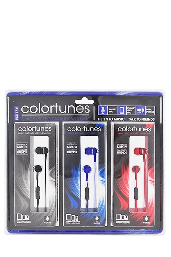 Picture of SENTRY COLORTUNES 3PK STEREO EARBUD W/MIC 3.5MM