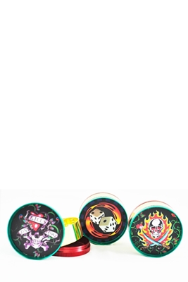 Picture of TOBACCO METAL GRINDER 3 PARTS 50MM DISPLAY ASSORTED DESIGNS