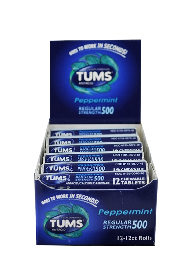 Picture of TUMS PEPPERMINT 12 ROLLS 750MG